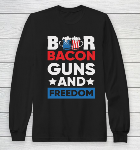 Beer Lover Funny Shirt Beer Bacon and Freedom 4th Long Sleeve T-Shirt 1
