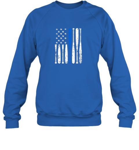 kazs thin blue line leo usa flag police support baseball bat sweatshirt 35 front royal