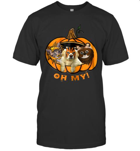 Womens Pumpkin Cat And Dog Halloween T-Shirt