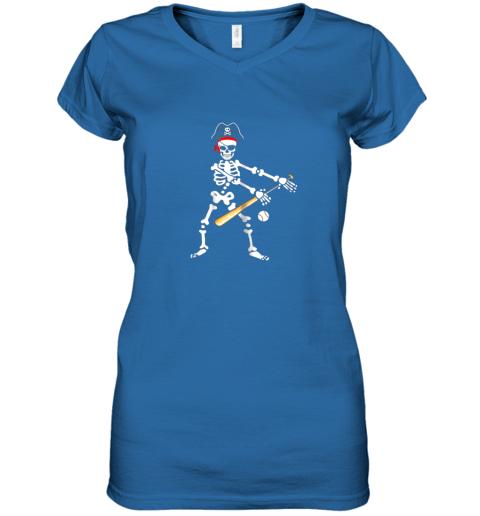 gwfs skeleton pirate floss dance with baseball shirt halloween women v neck t shirt 39 front royal