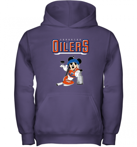 stsk mickey edmonton oilers with the stanley cup hockey nhl shirt youth hoodie 43 front purple