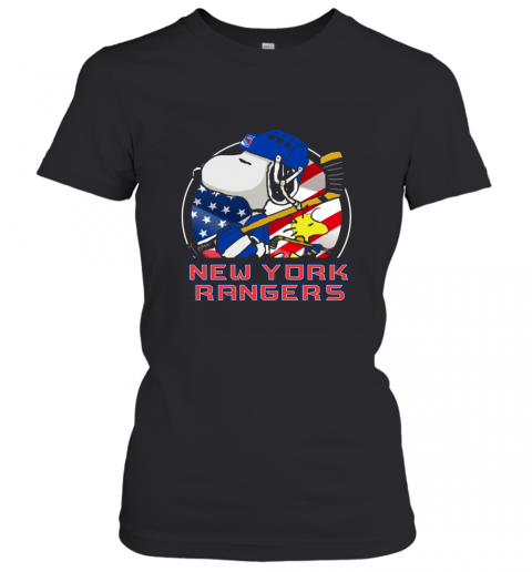New York Ranger  Snoopy And Woodstock NHL Women's T-Shirt