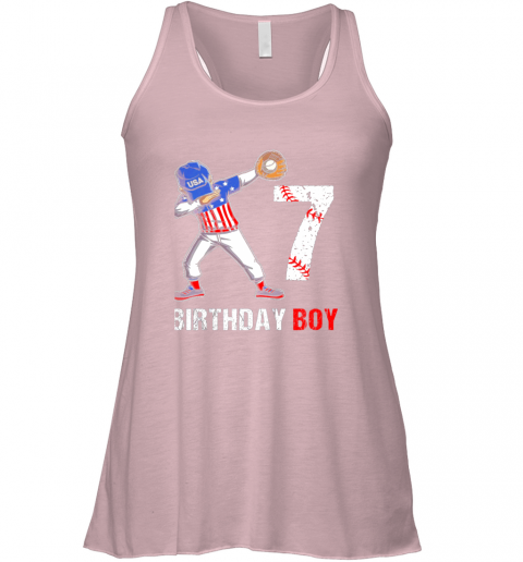 zvlr kids 7 years old 7th birthday baseball dabbing shirt gift party flowy tank 32 front soft pink