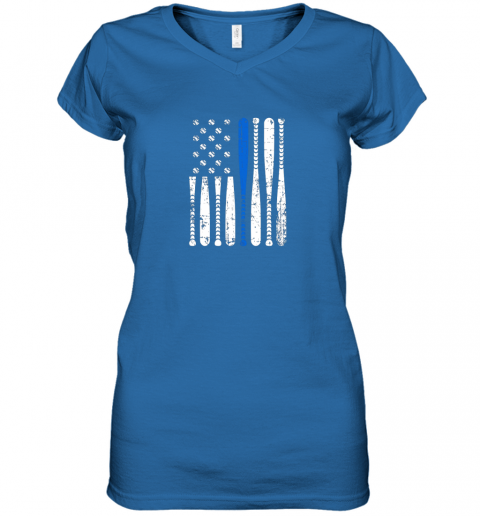 5mir thin blue line leo usa flag police support baseball bat women v neck t shirt 39 front royal