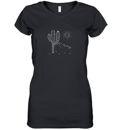 Cactus Baseball Bat Image Shirt for America's Pastime Fan Women's V-Neck T-Shirt