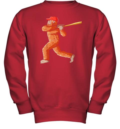 tv08 bigfoot baseball sasquatch playing baseball player youth sweatshirt 47 front red