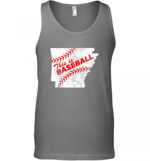 13k1 this is baseball arkansas with red laces unisex tank 17 front graphite heather