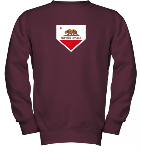 yykv vintage baseball home plate with california state flag youth sweatshirt 47 front maroon