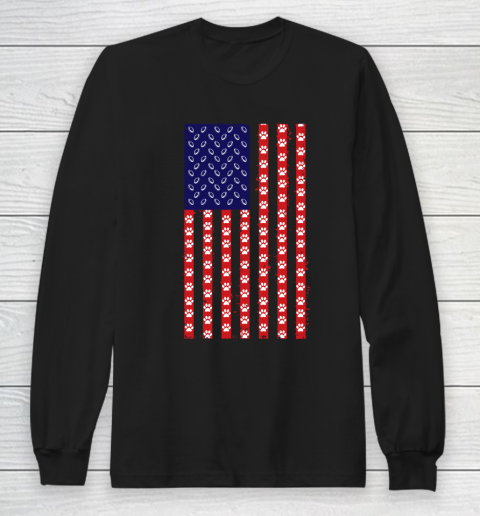 Rugby Dog Lover American Flag Long Sleeve T-Shirt
