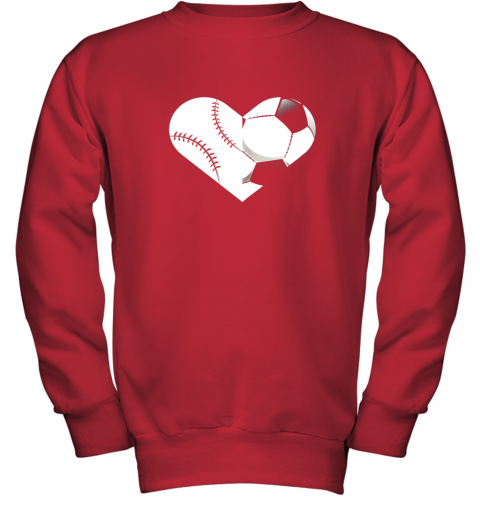 mvfz soccer baseball heart sports tee baseball soccer youth sweatshirt 47 front red