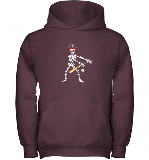 5jxj skeleton pirate floss dance with baseball shirt halloween youth hoodie 43 front maroon