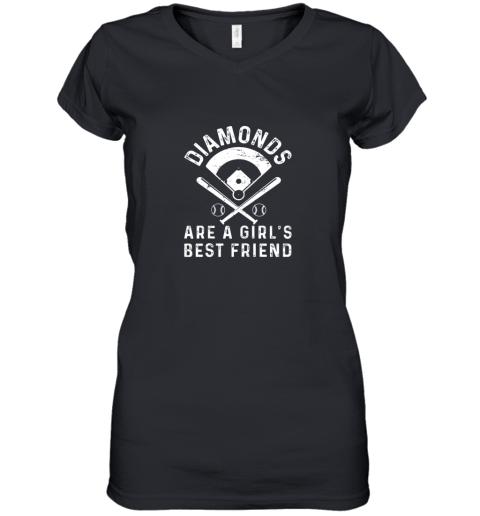 Diamonds are a Girl's Best Friend Baseball Women's V-Neck T-Shirt
