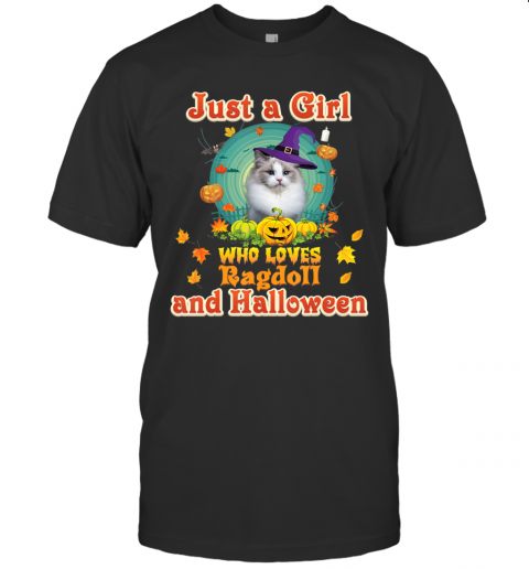 Just A Girl Who Loves Ragdoll Cat And Halloween Witch T-Shirt