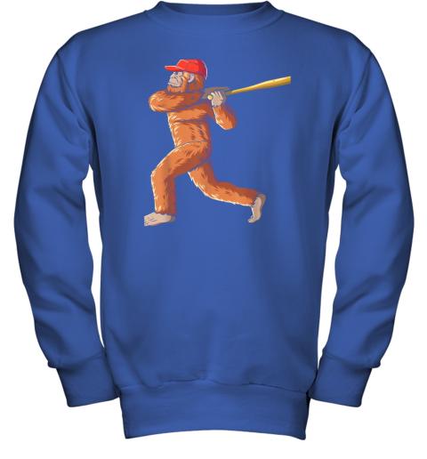 tv08 bigfoot baseball sasquatch playing baseball player youth sweatshirt 47 front royal