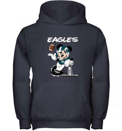 jwbo mickey eagles taking the super bowl trophy football youth hoodie 43 front navy