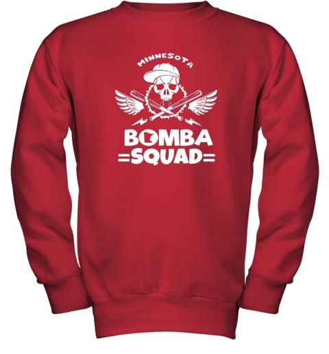 6098 bomba squad twins shirt minnesota baseball men bomba squad youth sweatshirt 47 front red