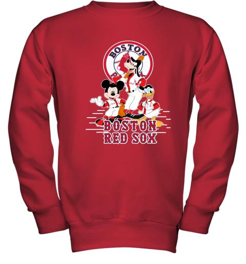 Boston Red Sox Mickey Donald And Goofy Baseball Youth Sweatshirt