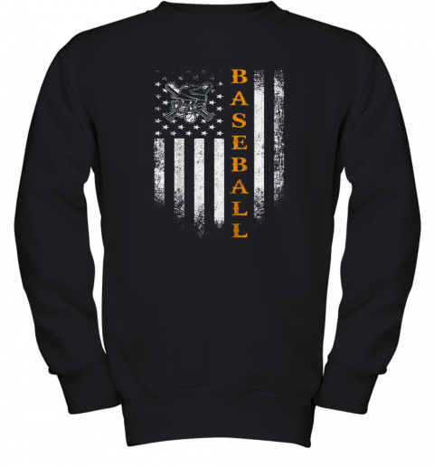 Vintage USA Baseball Distressed American Flag Patriotic Gift Youth Sweatshirt