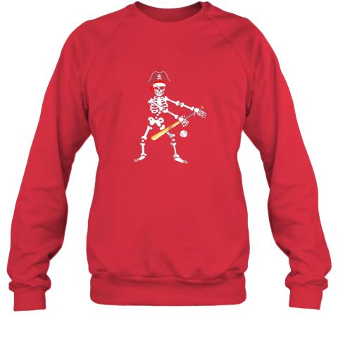 y4tm skeleton pirate floss dance with baseball shirt halloween sweatshirt 35 front red