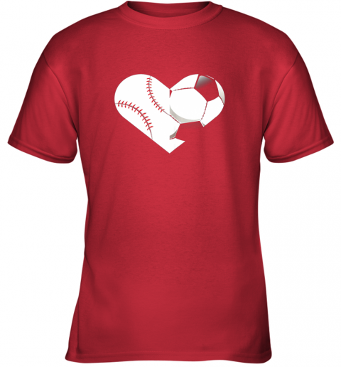 9e1d soccer baseball heart sports tee baseball soccer youth t shirt 26 front red