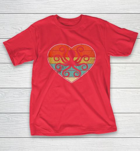 Retro Vintage Octopus Heart Shirt Valentine Gift T-Shirt 9