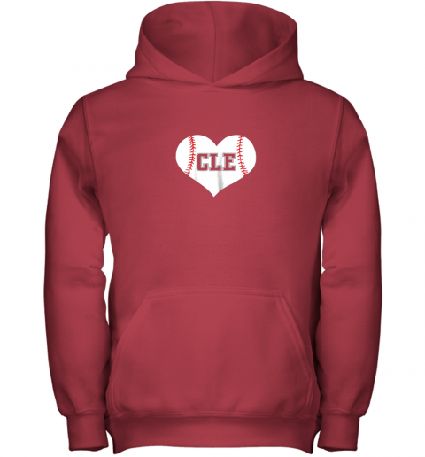 2q5b cleveland ohio baseball love heart cle gift jersey fan youth hoodie 43 front red