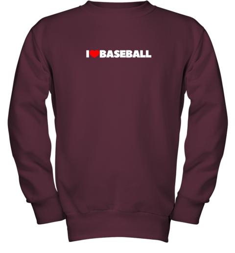 valw i love heart baseball youth sweatshirt 47 front maroon