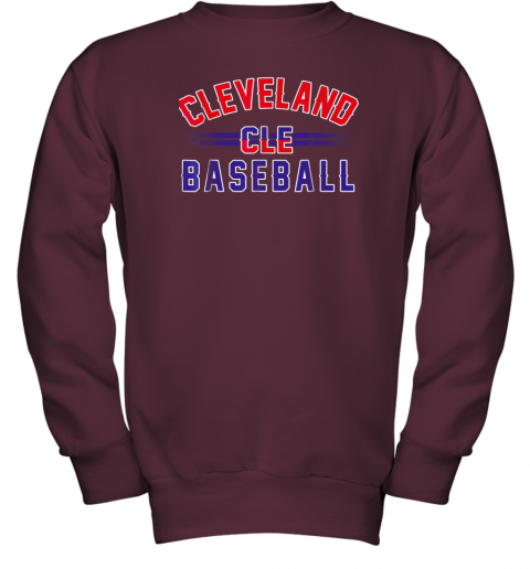 gitw cleveland cle baseball youth sweatshirt 47 front maroon