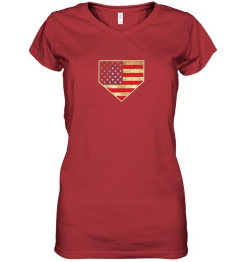 kquw vintage american flag baseball shirt home plate art gift women v neck t shirt 39 front red