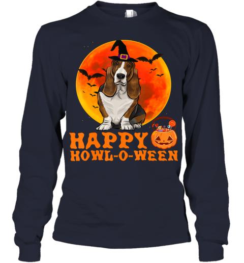 Funny Basset Hound Dog Halloween Happy Howl-o-ween Youth Long Sleeve