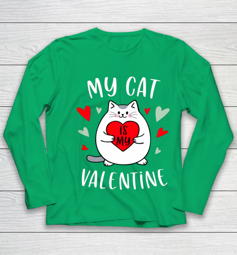 My Cat Is My Valentine Kitten Lover Heart Valentines Day Youth Long Sleeve 4
