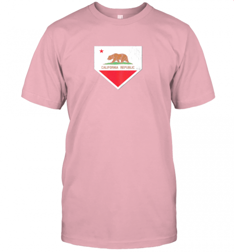 9qsz vintage baseball home plate with california state flag jersey t shirt 60 front pink