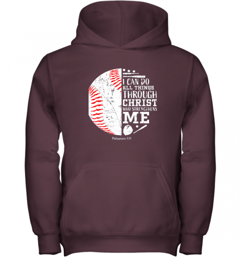 nrrl christian baseball shirts i can do all things through christ youth hoodie 43 front maroon