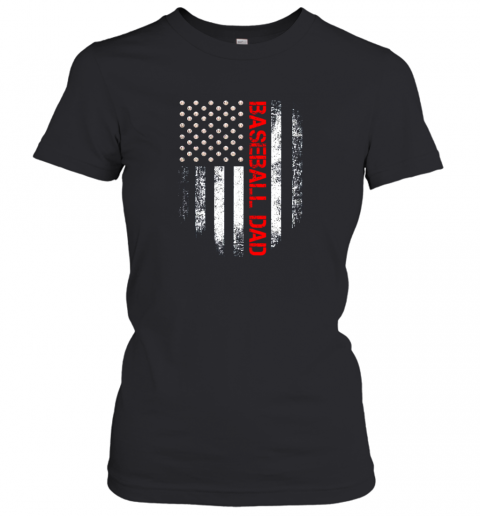 Vintage USA American Flag Proud Baseball Dad Player Women's T-Shirt