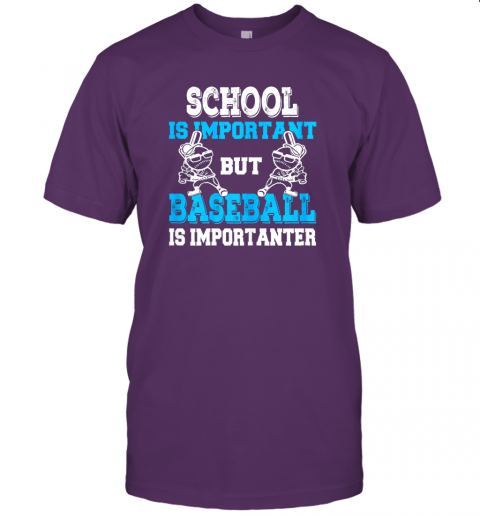 9ksg school is important but baseball is importanter boys jersey t shirt 60 front team purple