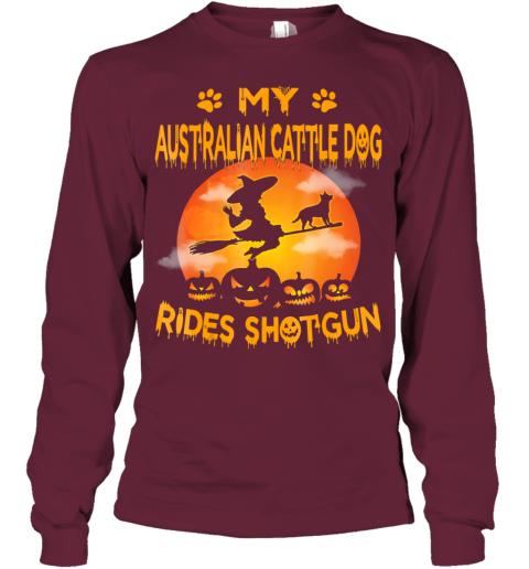 My Australian Cattle Dog Rides Shotgun Halloween Youth Long Sleeve