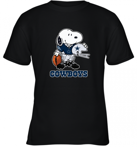 Snoopy Strong And Proud Dallas Cowboys Player NFL Youth T-Shirt