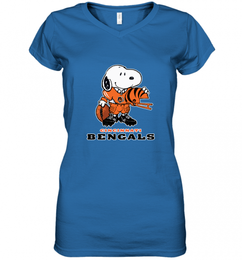 Snoopy A Strong And Proud Cincinnati Bengals Player NFL Women's V-Neck T-Shirt