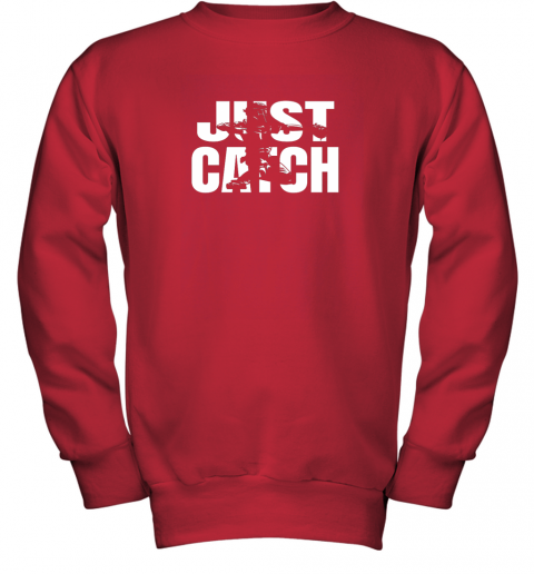 x02p just catch baseball catchers long sleeve shirt baseballisms youth sweatshirt 47 front red