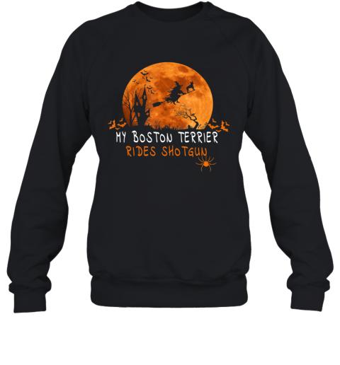 Halloween Boston Terrier T Shirts Costume Rides Shotgun Gift Sweatshirt