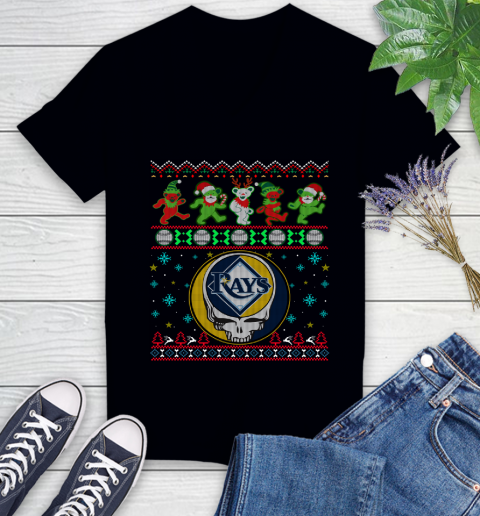 Christmas Ugly Mlb Tampa Bay Rays Grateful Dead Rock Band Skull Baseball Sports Womens V Neck T Shirt