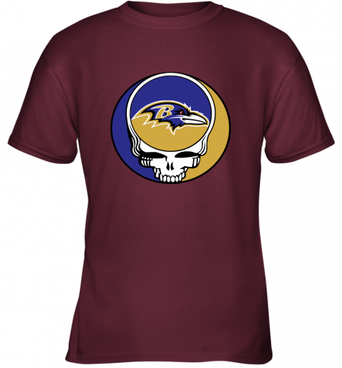 p7mh nfl team baltimore ravens x grateful dead youth t shirt 26 front maroon