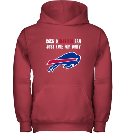 lnzk buffalo bills born a bills fan just like my daddy youth hoodie 43 front red