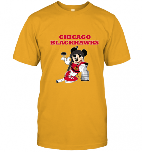 5krp mickey chicago blackhawks with the stanley cup hockey nhl jersey t shirt 60 front gold