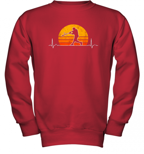 cjng vintage baseball heartbeat retro sunset swinging batter gift youth sweatshirt 47 front red