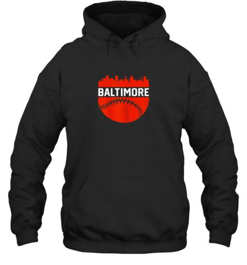 Vintage Downtown Baltimore Maryland Skyline Baseball Hoodie