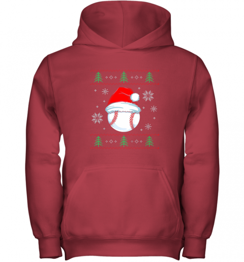 zjj9 ugly christmas baseball shirt boys kids ball santa pajama youth hoodie 43 front red