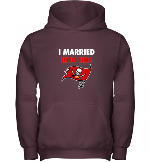 3zw8 i married into this tampa bay buccaneers football nfl youth hoodie 43 front maroon
