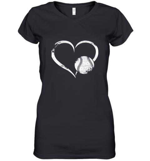 I Love Baseballl Funny Baseball Lover Heartbeat Women's V-Neck T-Shirt