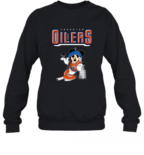 v2qw mickey edmonton oilers with the stanley cup hockey nhl shirt sweatshirt 35 front black